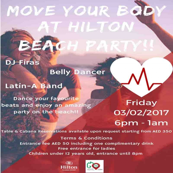 Move your body at Hilton Beach Party!