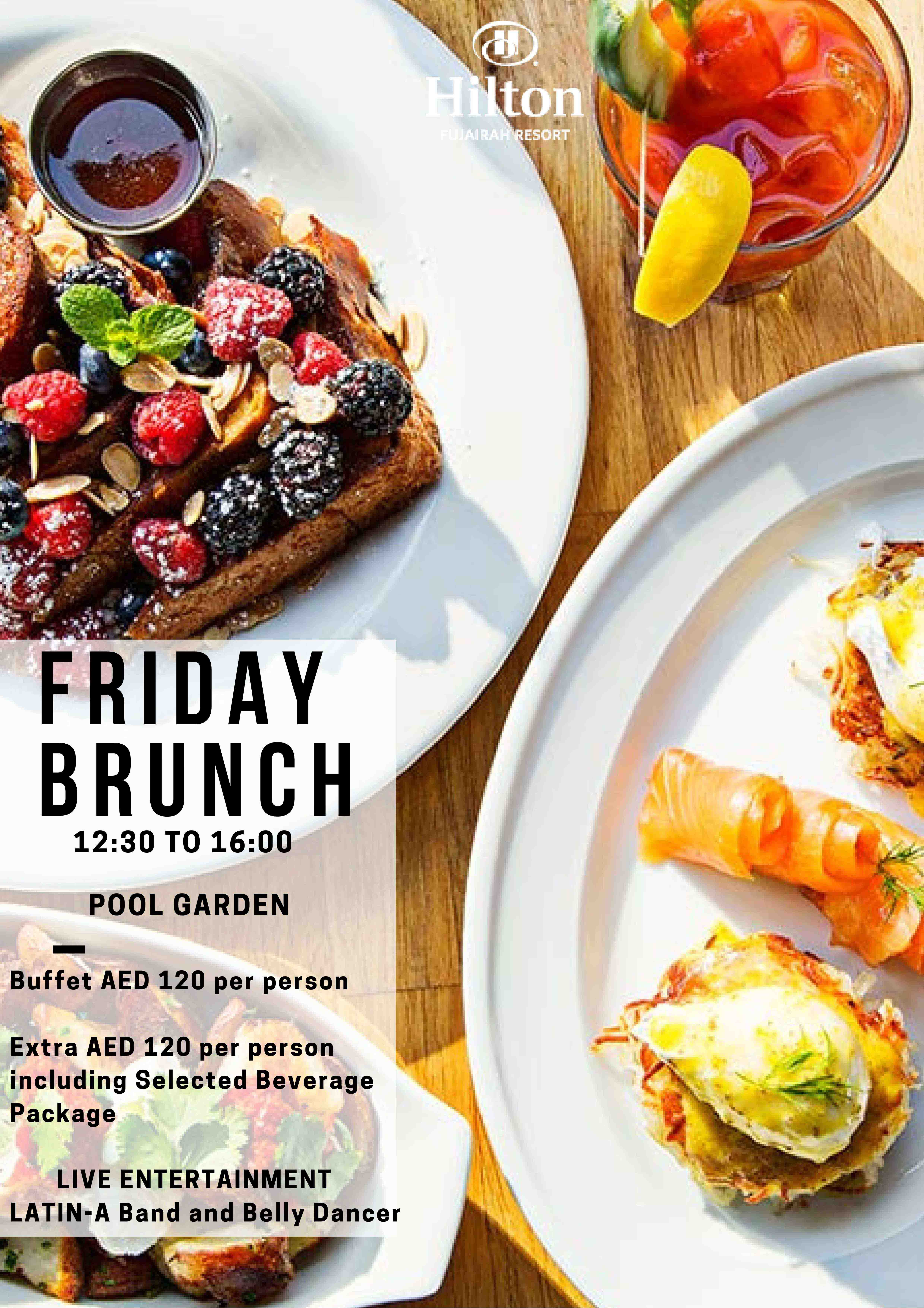 Friday Brunch in the Pool Garden at Hilton Fujairah Resort