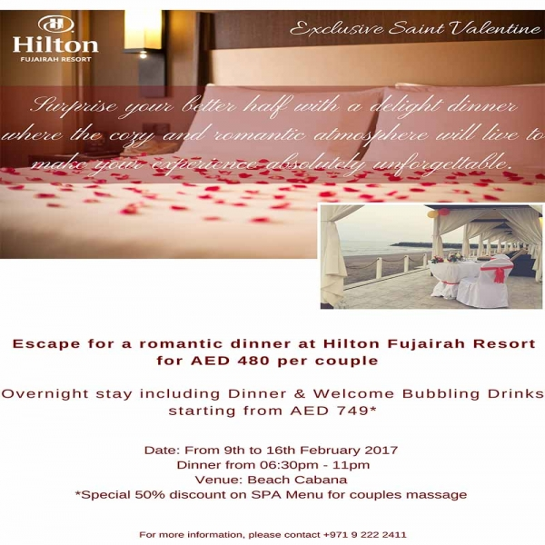 Escape for a romantic dinner at Hilton Fujairah Resort
